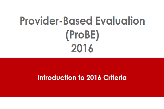 Provider Based Evaluation (PROBE) 2016