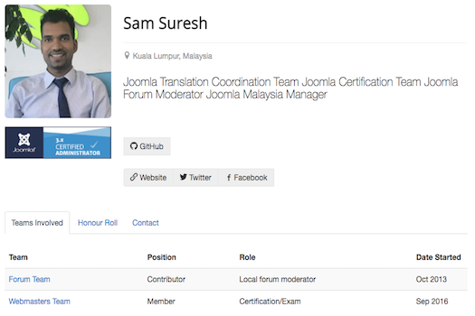 Sam Suresh Telah Dilantik Sebagai Peneraju Pasukan Pensijilan Joomla!
