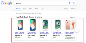 Shopping ads in Google Search Results