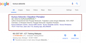 Text ads in Google Search Results